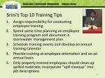 srini s top 10 training tips