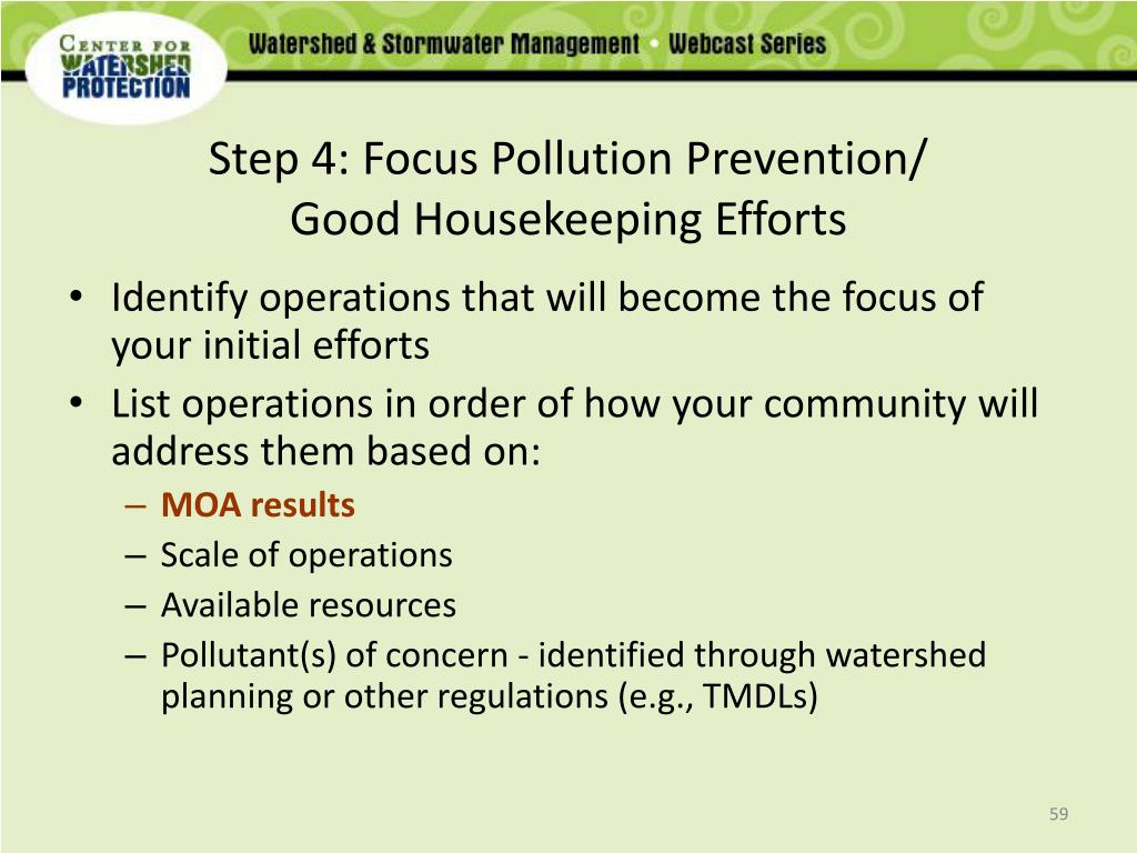 Step 4: Focus Pollution Prevention/