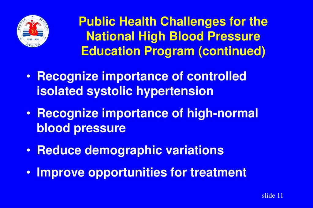 Public Health Challenges for the National High Blood Pressure Education Program (continued)
