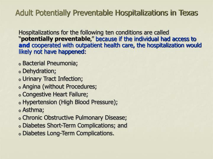 Adult potentially preventable hospitalizations in texas2