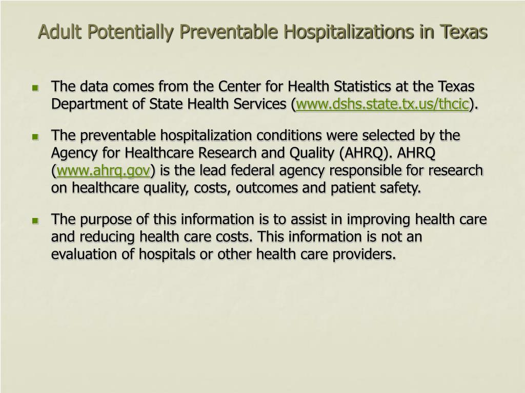 Adult Potentially Preventable Hospitalizations in Texas