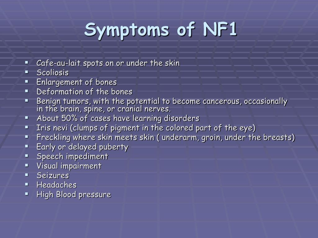 Symptoms of NF1