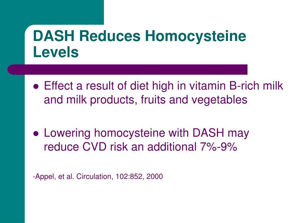 DASH Reduces Homocysteine Levels