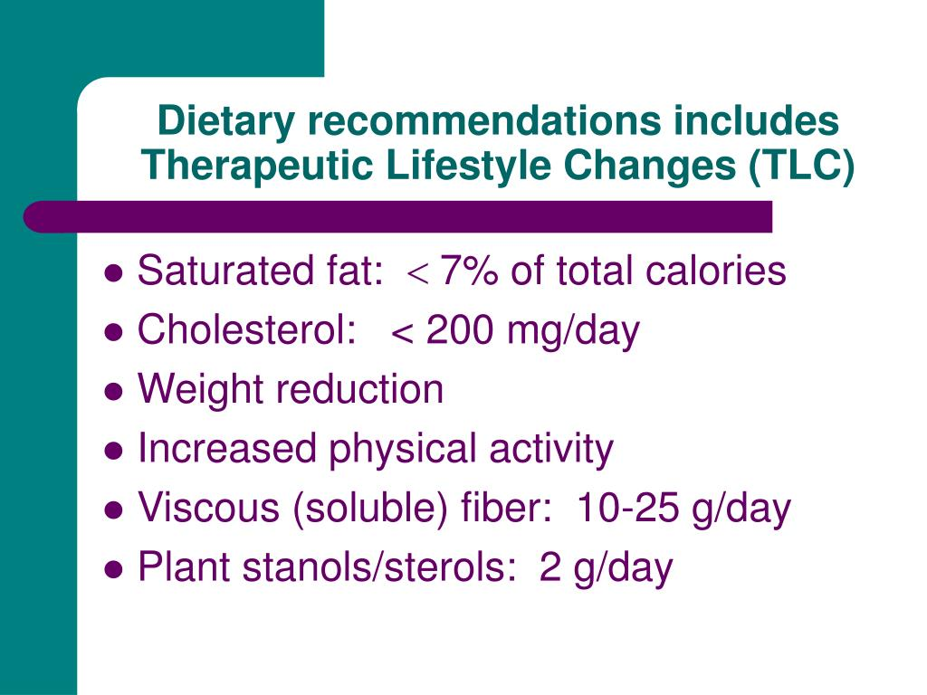 Dietary recommendations includes