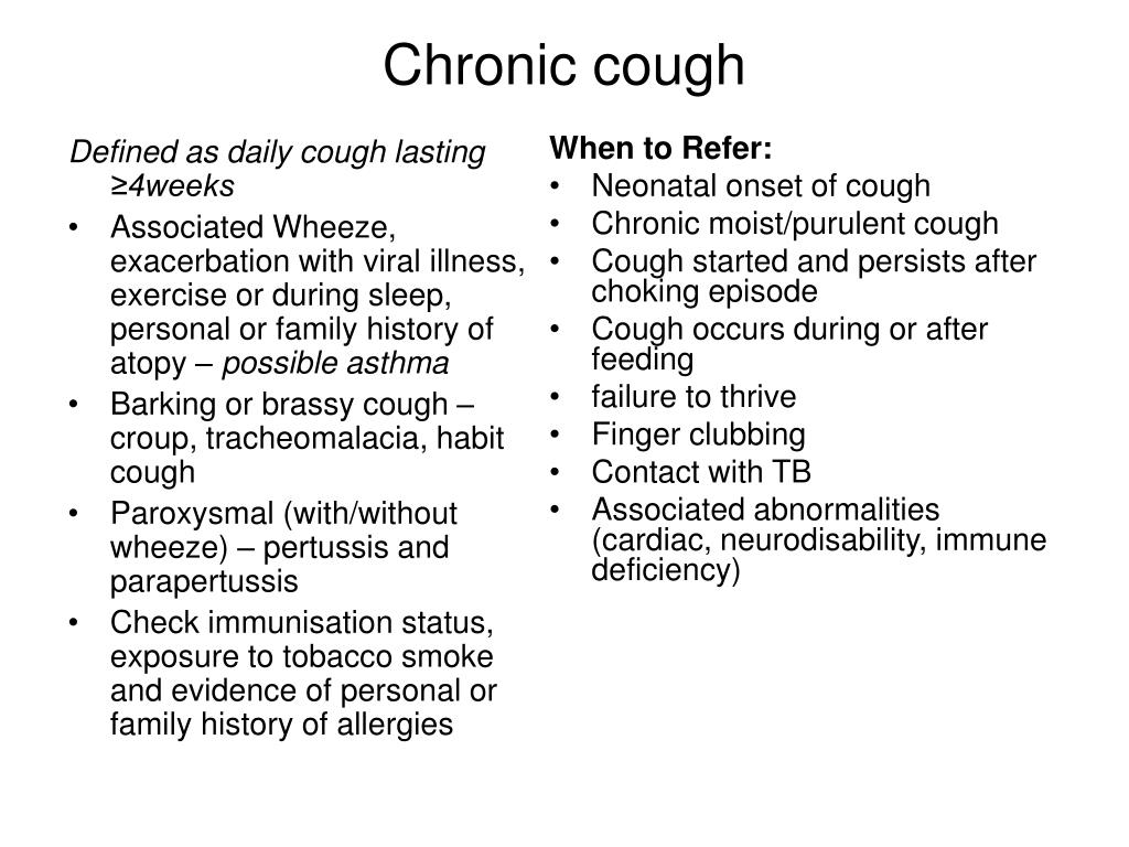 Defined as daily cough lasting ≥4weeks