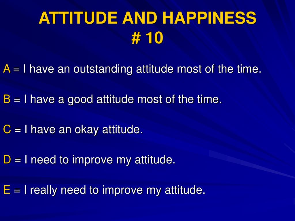 ATTITUDE AND HAPPINESS