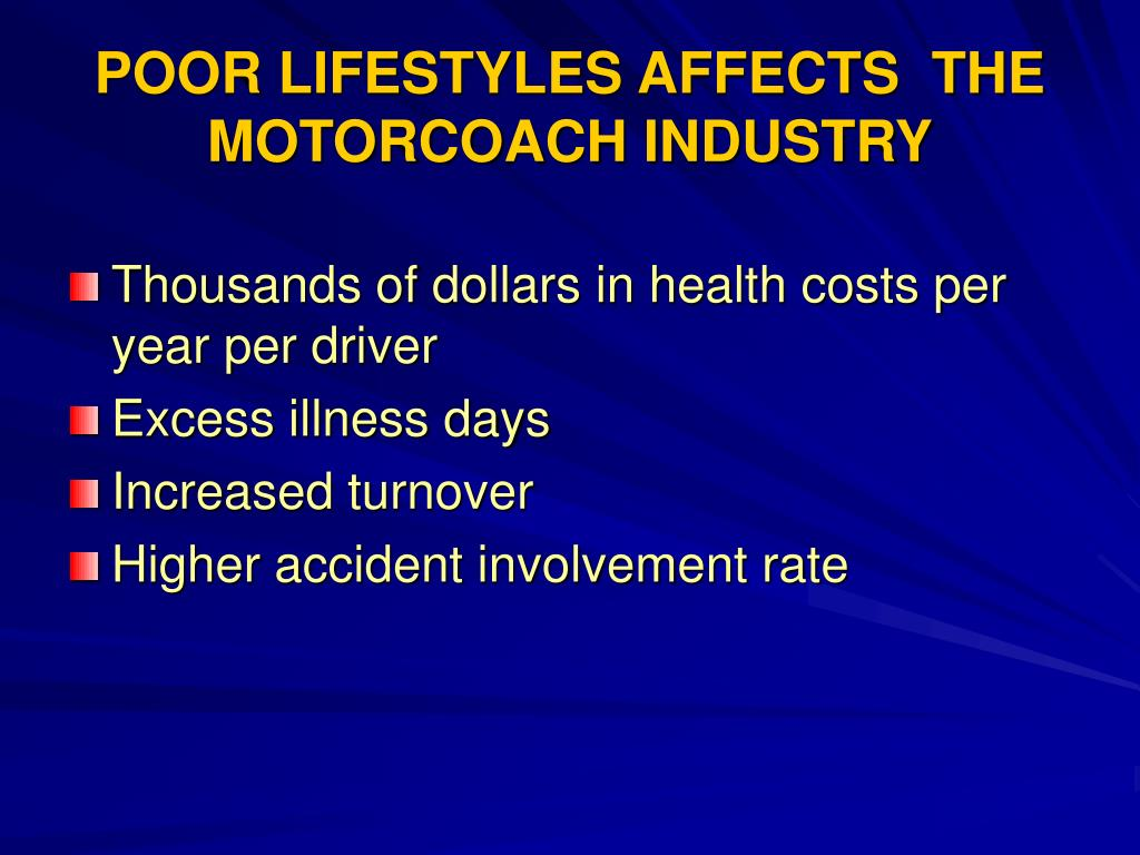 POOR LIFESTYLES AFFECTS  THE MOTORCOACH INDUSTRY