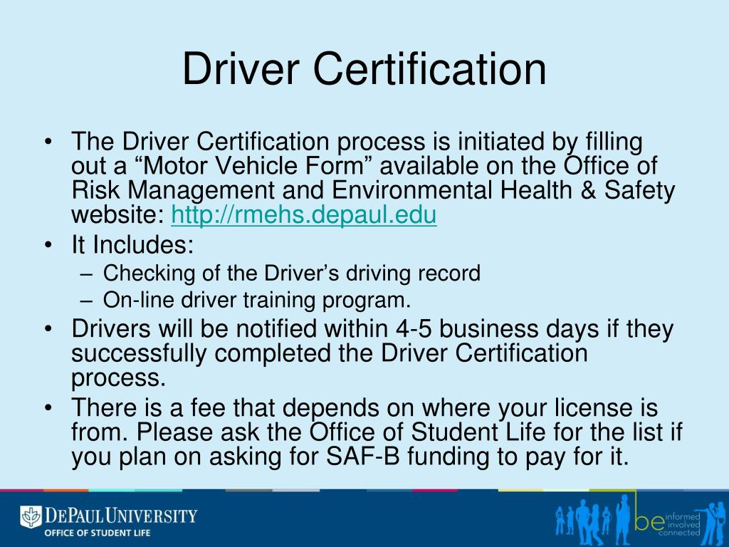 Driver Certification
