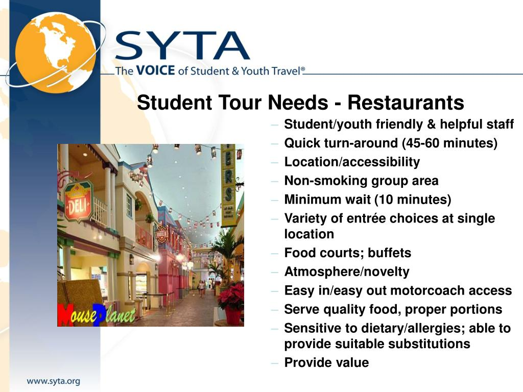 Student Tour Needs - Restaurants