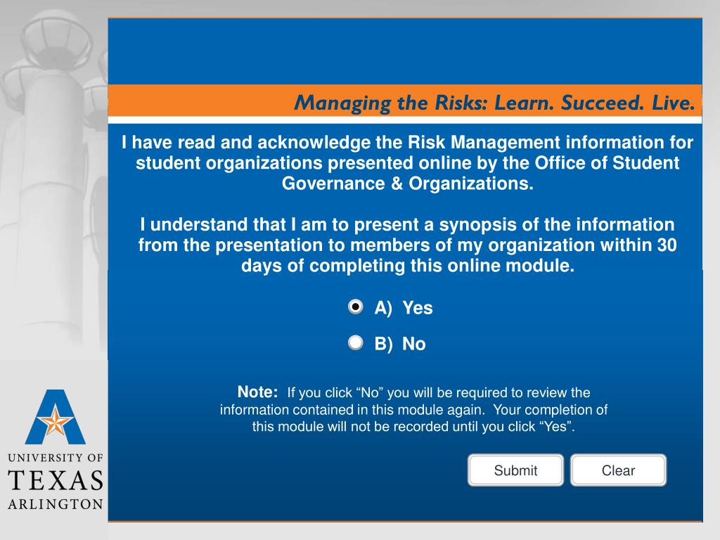 I have read and acknowledge the Risk Management information for student organizations presented online by the Office of Student Governance & Organizations.