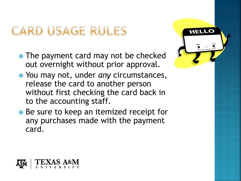 Card Usage Rules