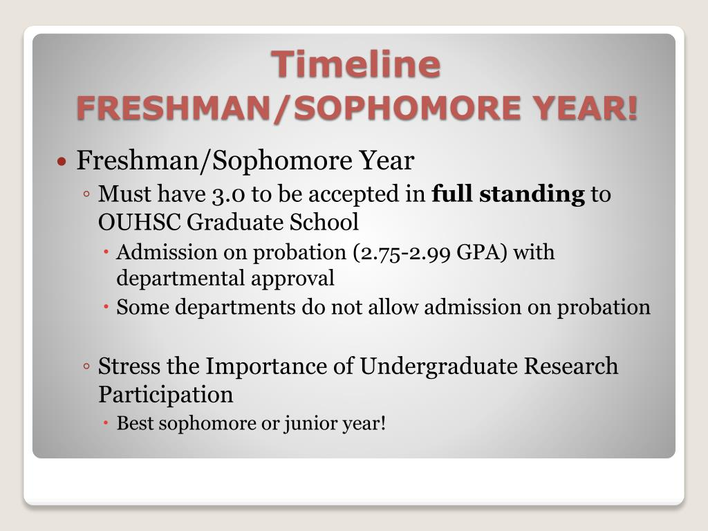 Freshman/Sophomore Year