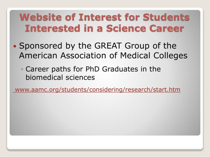 Website of interest for students interested in a science career