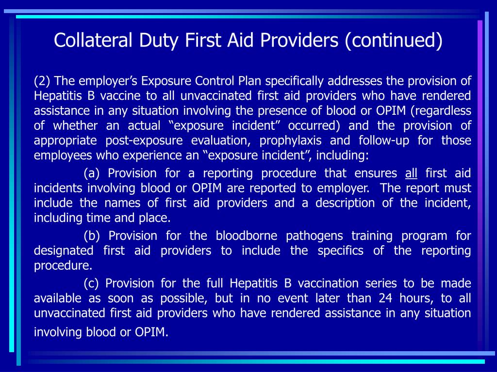 Collateral Duty First Aid Providers (continued)