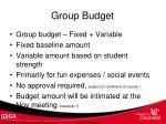 group budget