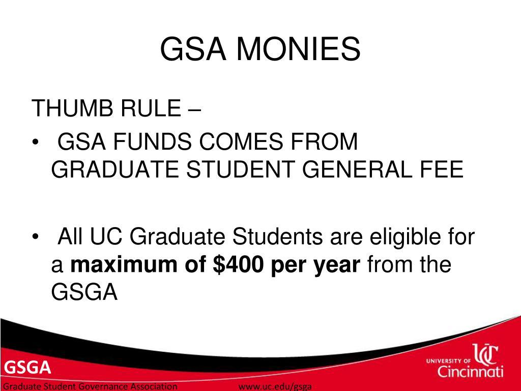 GSA MONIES