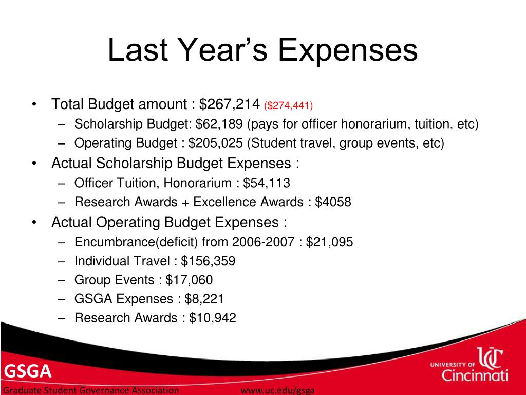 Last Year's Expenses