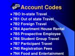 account codes