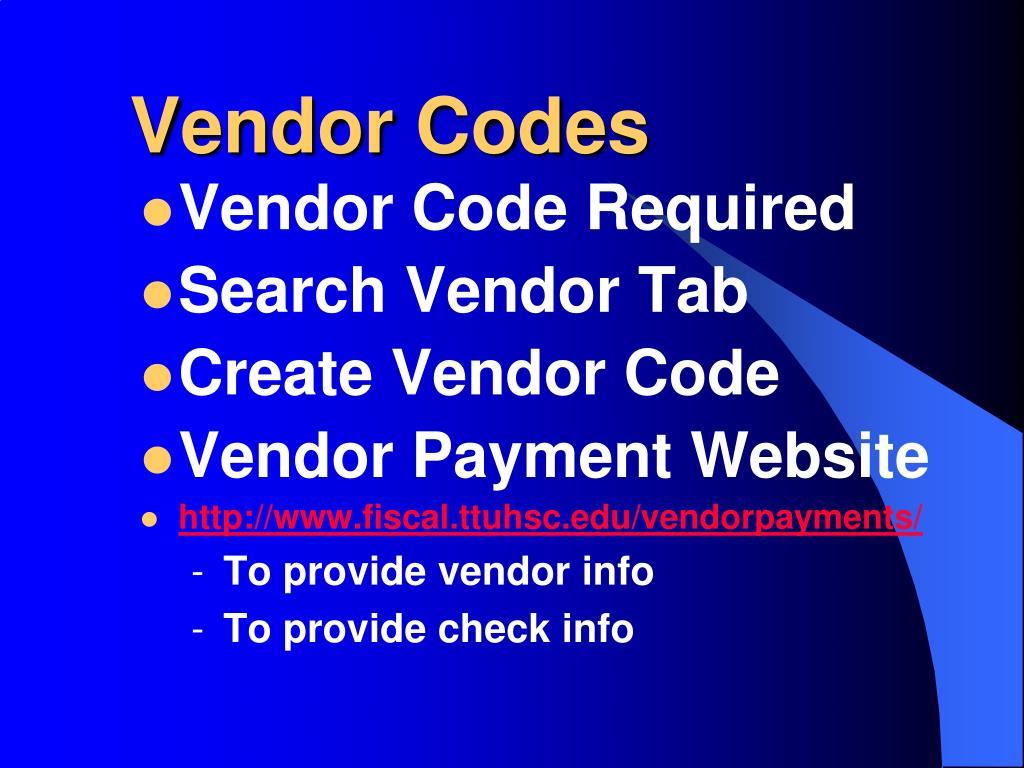 Vendor Codes