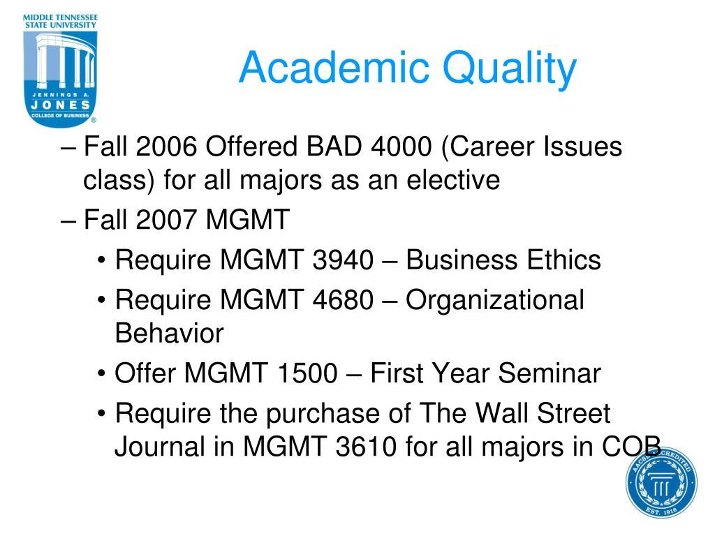 Academic Quality
