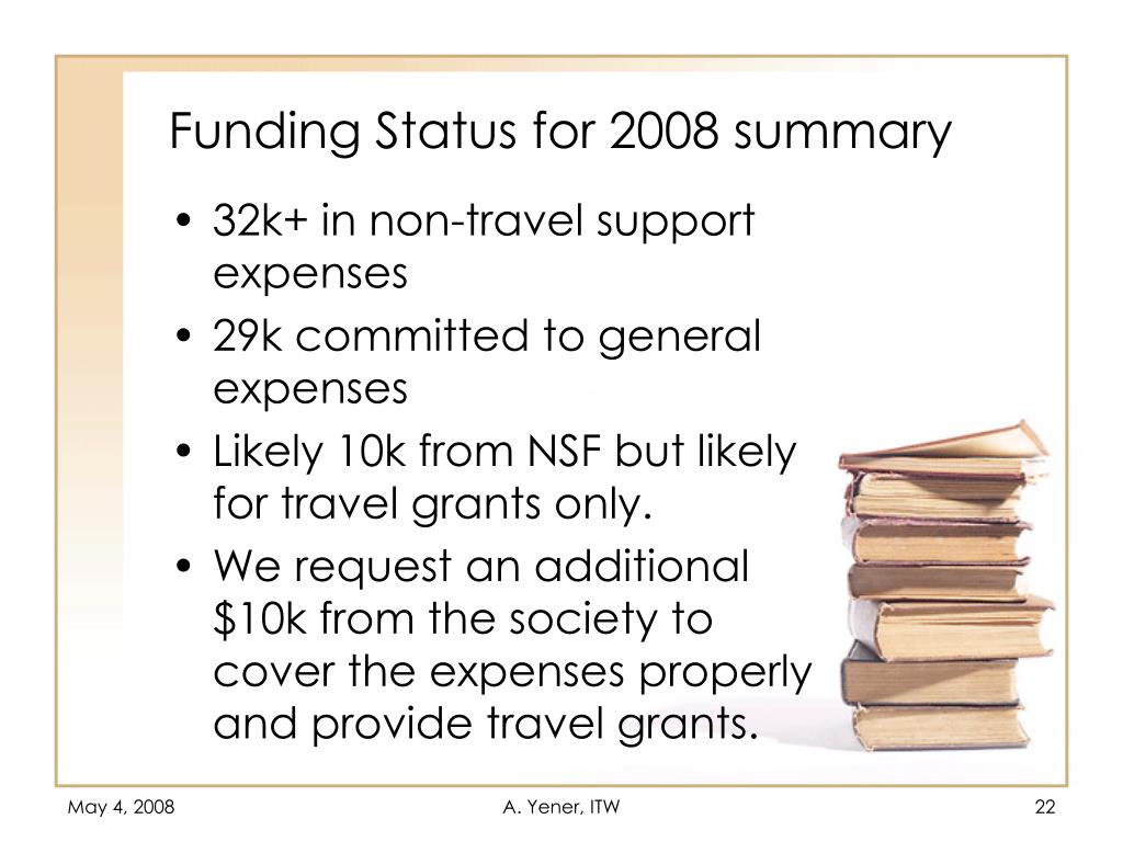 Funding Status for 2008 summary
