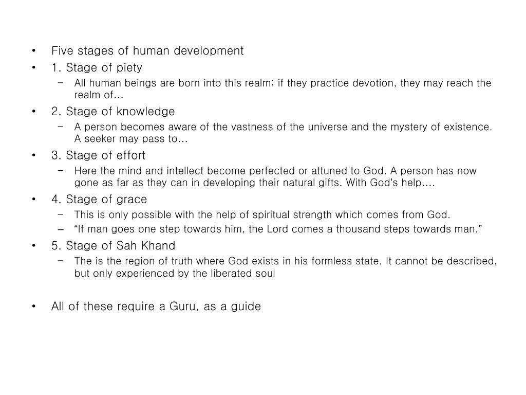 Five stages of human development