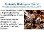 beginning beekeepers course