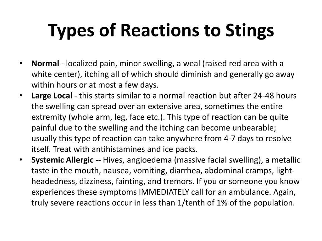 Types of Reactions to Stings