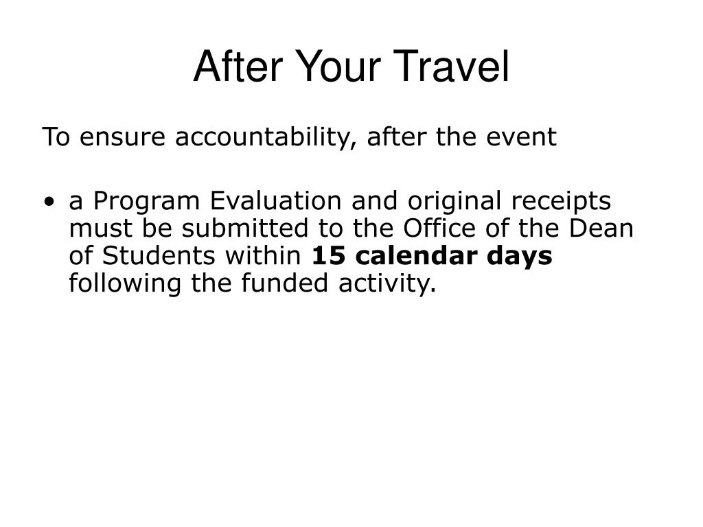 After Your Travel