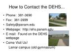 how to contact the dehs