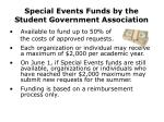 special events funds by the student government association