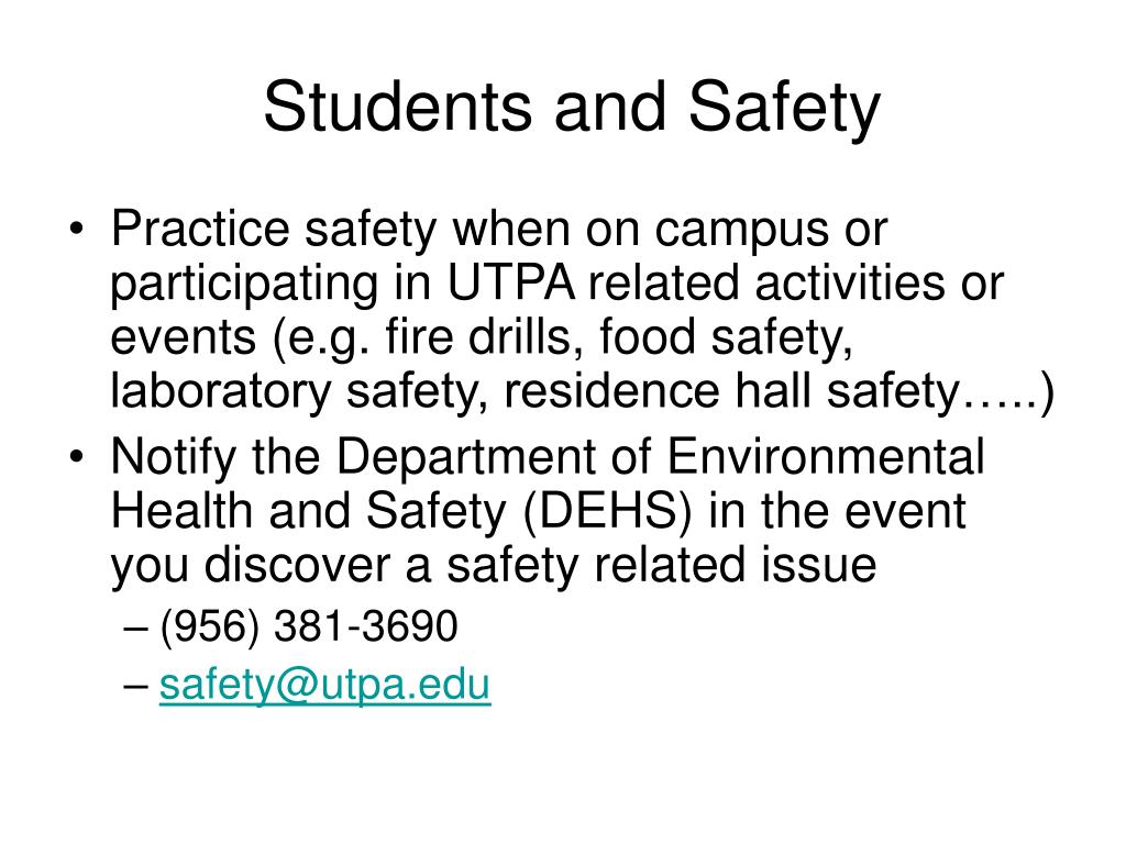 Students and Safety
