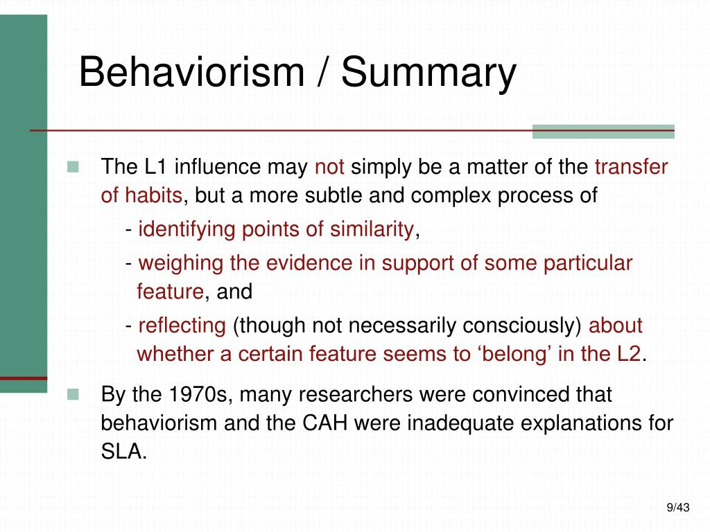 Behaviorism / Summary