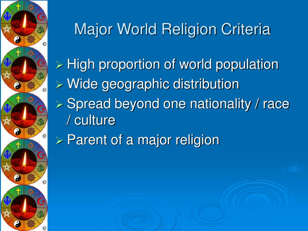 Major World Religion Criteria
