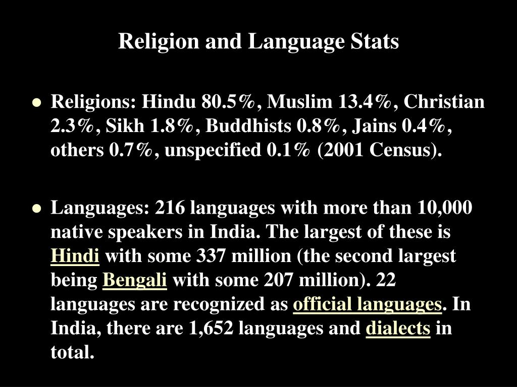 Religion and Language Stats