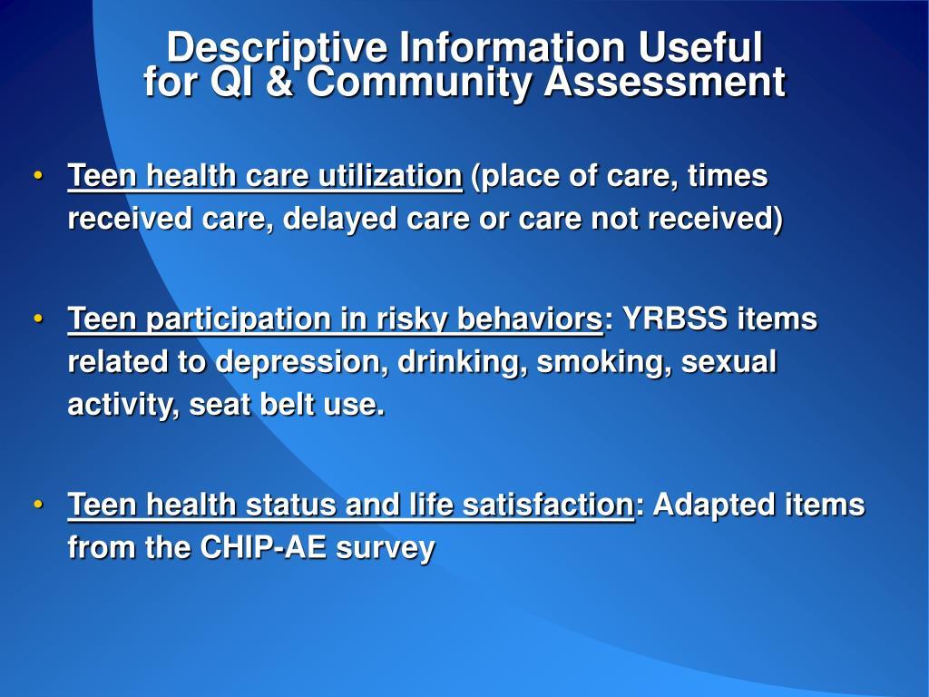 Descriptive Information Useful