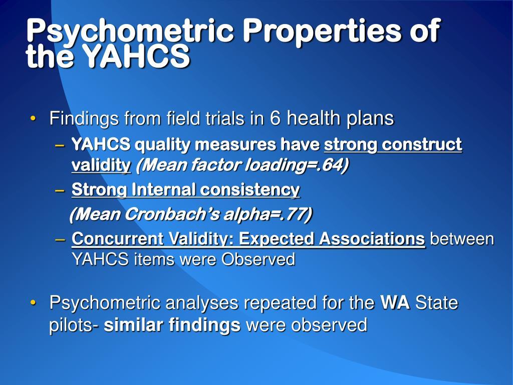 Psychometric Properties of the YAHCS