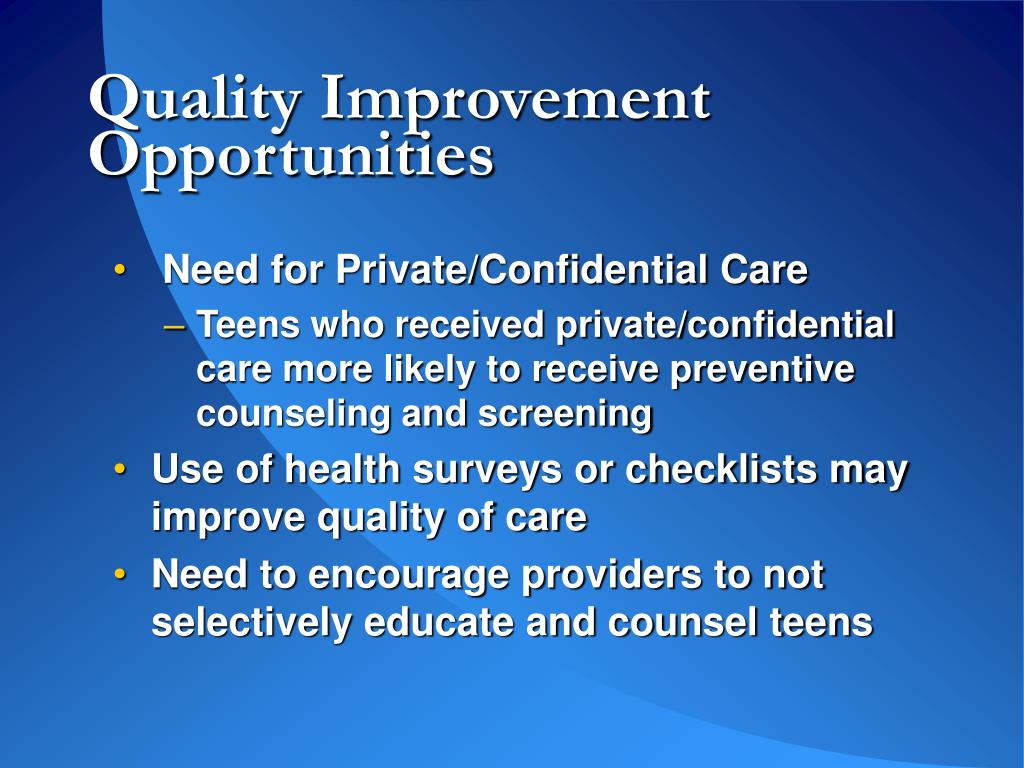 Quality Improvement Opportunities