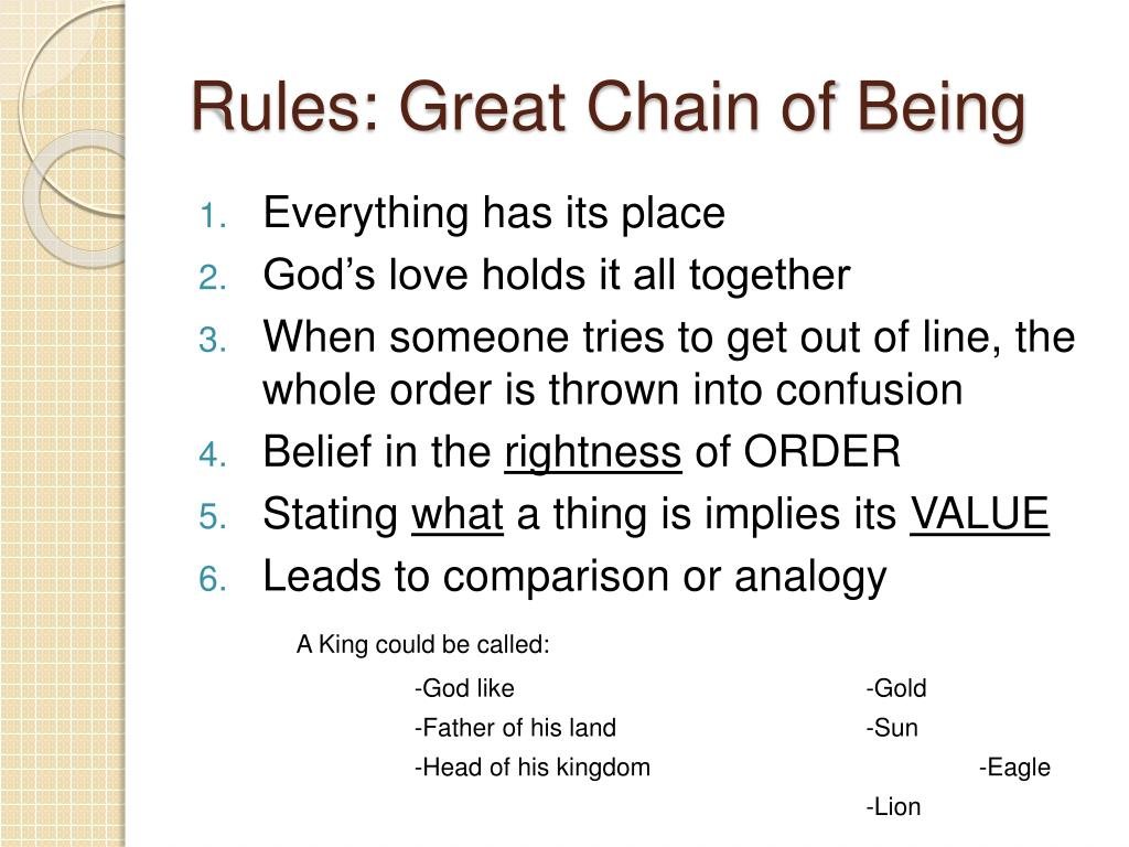 great chain of being The chain of being: tillyard in a nutshell basic chart of ranks god angels humans animals vegetables minerals four humors: yellow bile (or choler.
