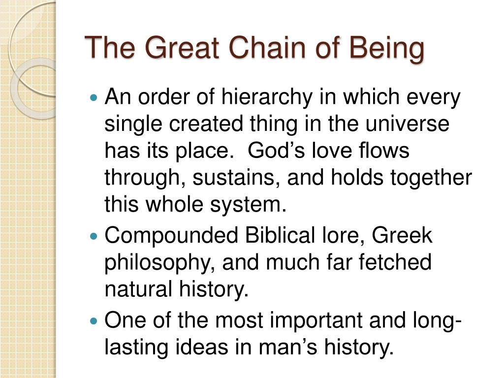 elizabethan england the great chain Chain of being definition is  britannica english - arabic translation nglish  a great way to try new things learn more from m-w.