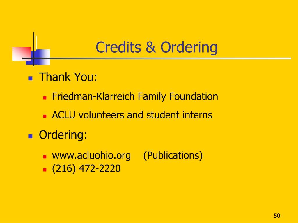 Credits & Ordering