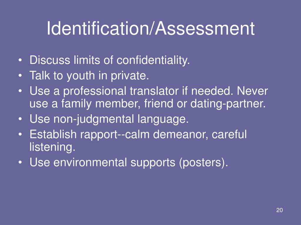 Identification/Assessment