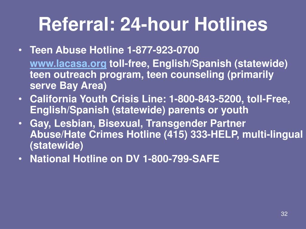 Referral: 24-hour Hotlines