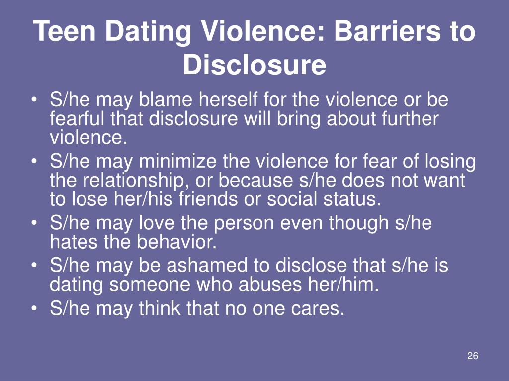 Teen Dating Violence: Barriers to Disclosure