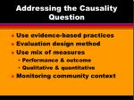 addressing the causality question50