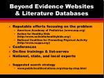 beyond evidence websites literature databases