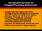 coordinated services for pregnant parenting adolescents