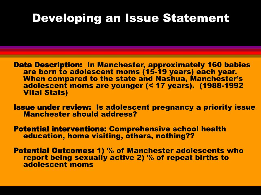 Developing an Issue Statement