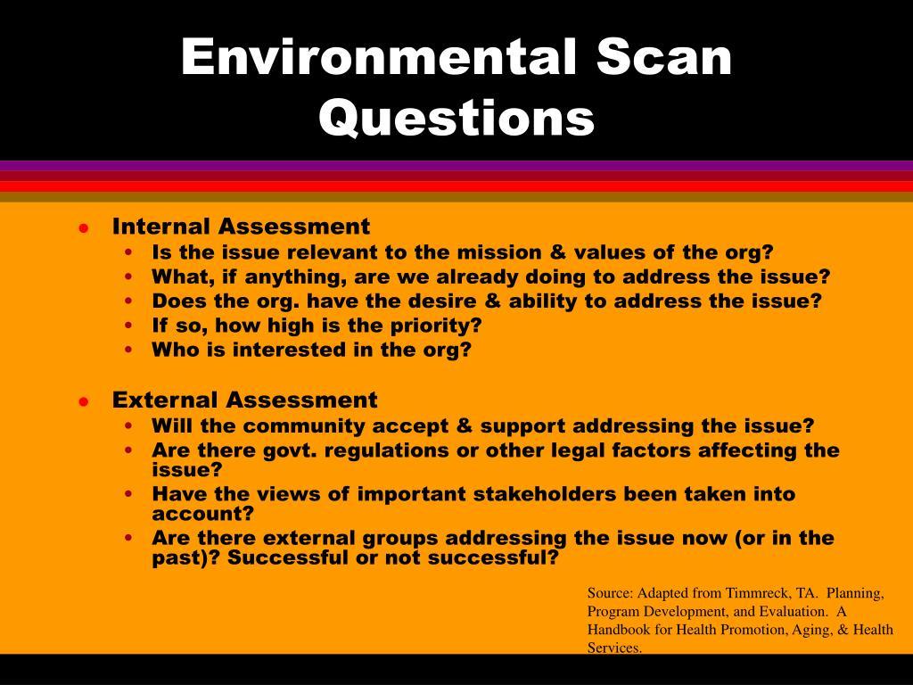 Environmental Scan Questions
