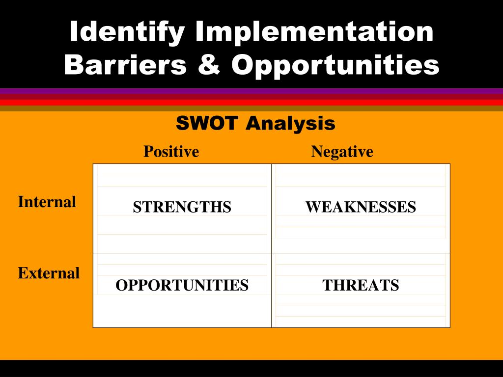 Identify Implementation Barriers & Opportunities